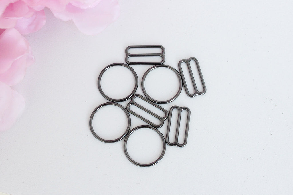 "2 Sets 3/4"" Gunmetal Metal Bramaking Rings & Sliders"