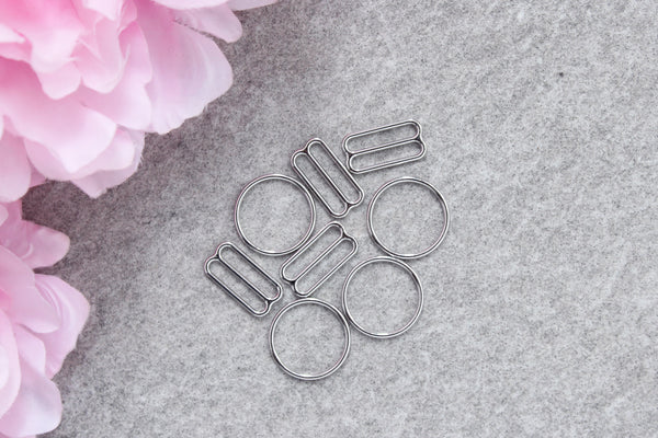 "2 Sets 3/4"" Silver Metal Bramaking Rings & Sliders"