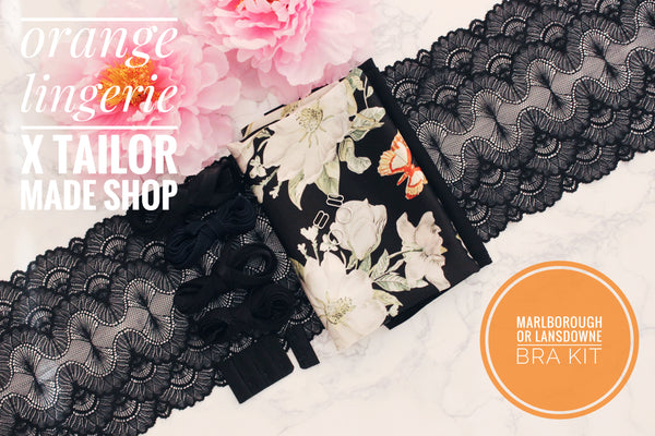 ***PRE-SALE**** Orange Lingerie Black Floral Charmeuse Black Scallop Lace Marlborough Bra or Lansdowne Bra Kit