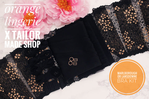 ***PRE-SALE**** Orange Lingerie Black Silk Charmeuse Black Gold Lace Marlborough Bra or Lansdowne Bra Kit