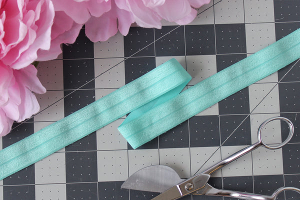 "1 YD of 3/4"" Aqua Fold Over Elastic Shiny Foldover Elastic FOE Underwear Making Lingerie Bra Making"