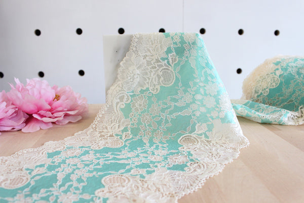 "1 YD of 8.5"" Aqua/Ivory Floral Stretch Lace for Bramaking Lingerie"