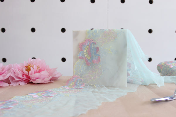 "7"" Aqua Pastels Multi Floral Embroidered Tulle Edge Lace Non-Stretch (Left and Right Lace Available)"