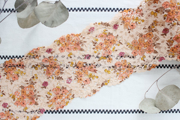 "1 YD of 6.25"" Autumnal Peach Multi Floral Stretch Lace for Bramaking Lingerie"