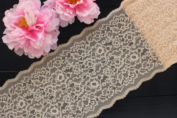 "1 YD of 9"" Beige Tan Floral Stretch Lace for Bramaking Lingerie"