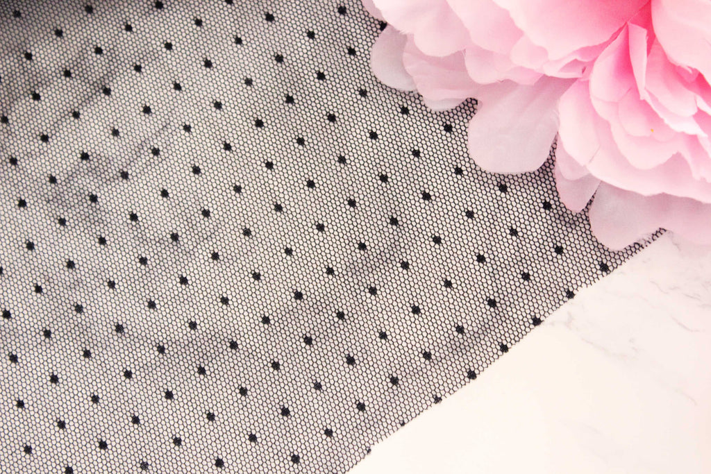 1/2 YD Black Swiss Dot Tulle Point d'esprit Perfect for Bra Making