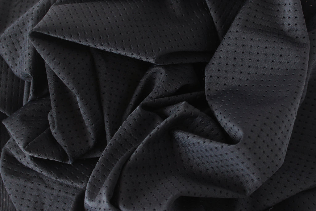 1/2 YD Black Athletic Mesh Activewear Nylon Spandex Fabric