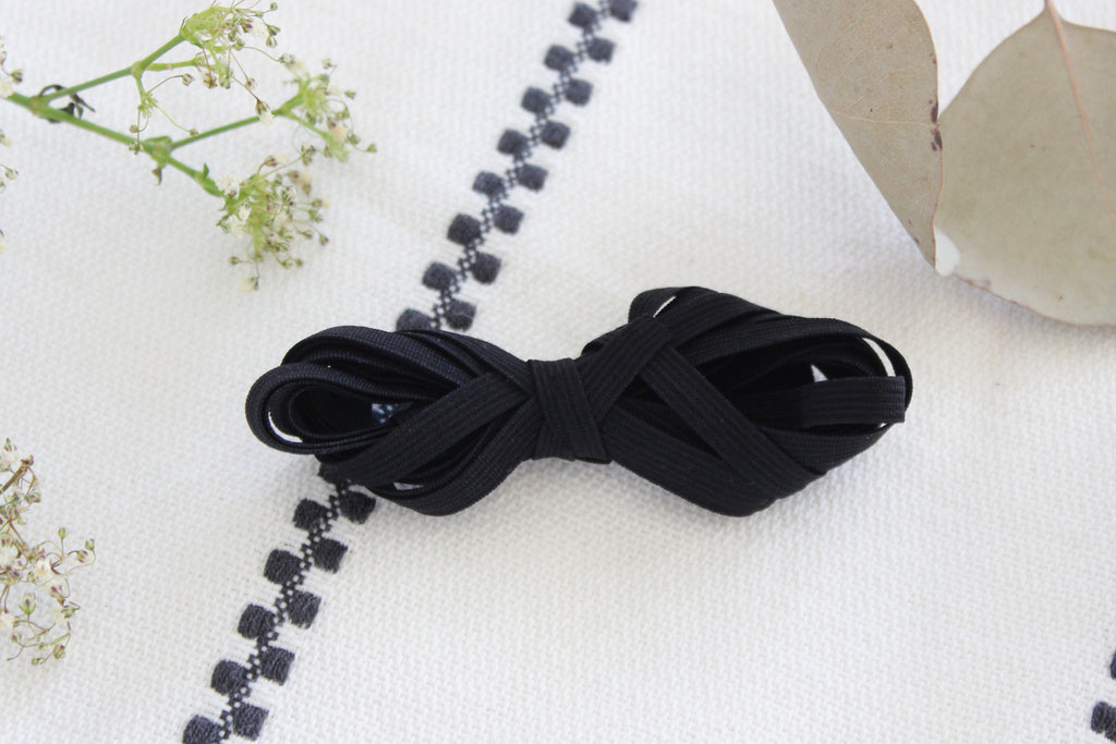 "1/4"" 6mm Black Flat Elastic"