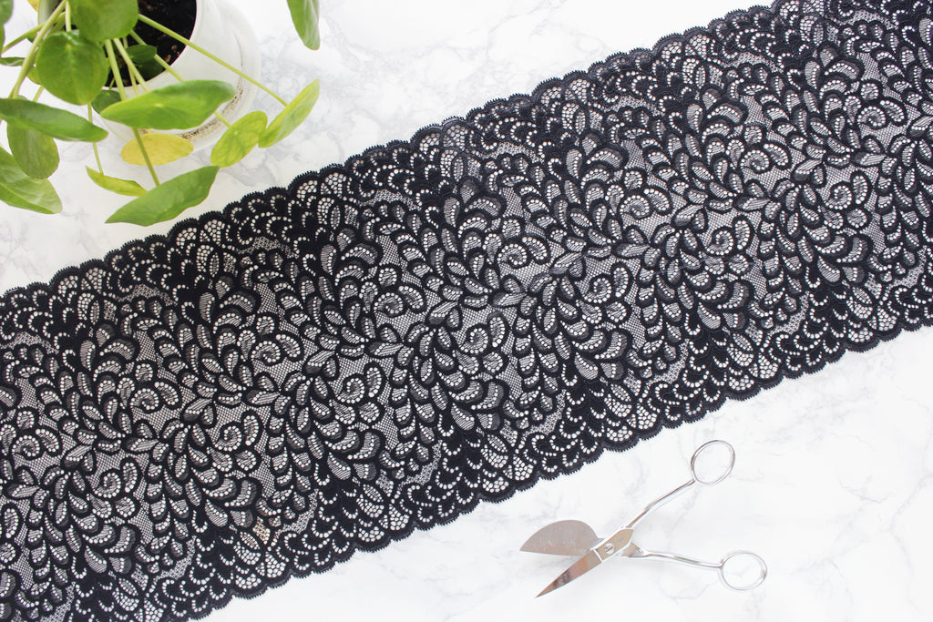 "1 YD of 9.25"" Black Stretch Lace for Bramaking Lingerie"
