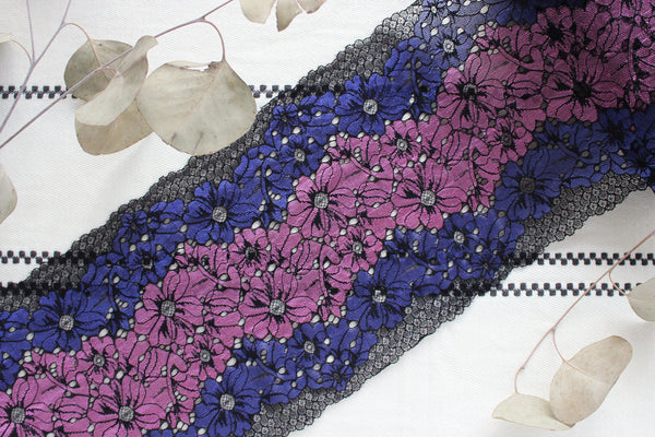 "1 YD of 8"" Black/Purple Stretch Lace for Bramaking Lingerie"