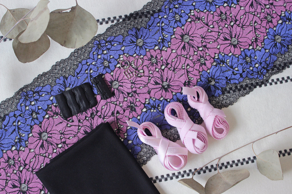 DIY Soft Bra Kit Black Purple Multi Lilac
