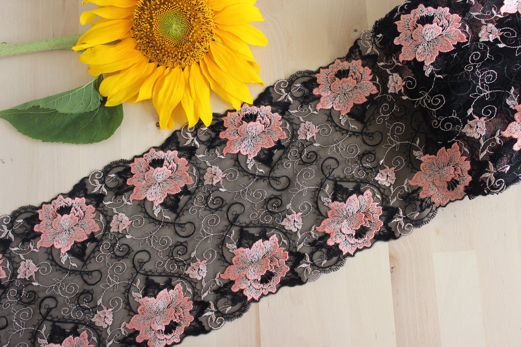 "1 YD of 8.25"" Black Coral Floral Embroidered Tulle Lace Non-Stretch"