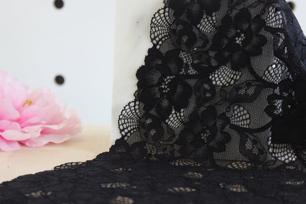 "1 YD of 9"" Black Floral Stretch Lace for Bramaking Lingerie"