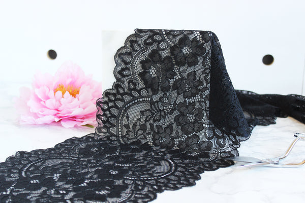 "1 YD of 8.75"" Black Floral Stretch Lace for Bramaking Lingerie"