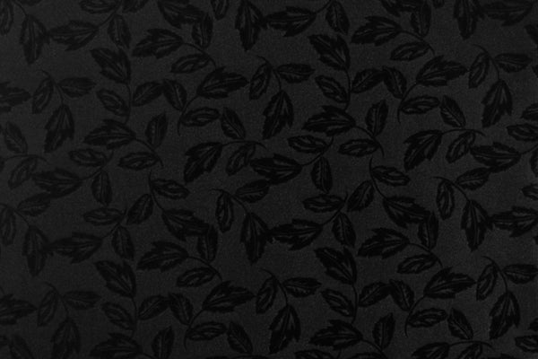 1/2 YD Black Leaves Motif Firm Lingerie Satin Bra Making Cups & Frame Fabric - LIMITED EDITION!
