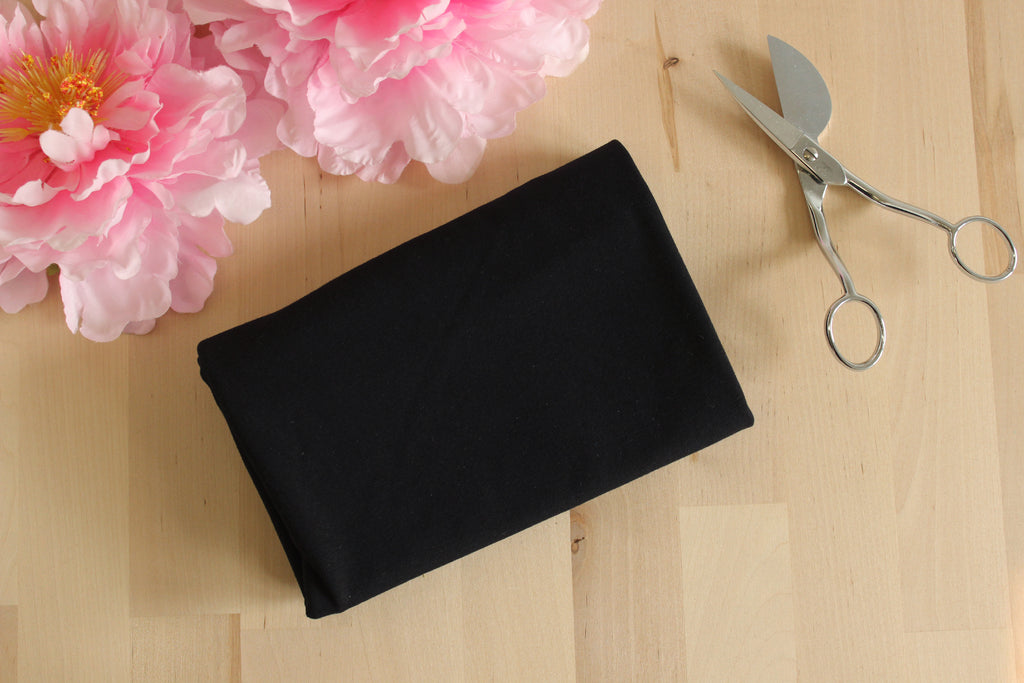 1/2 YD Black Organic Cotton Jersey Spandex - Perfect for sewing underwear