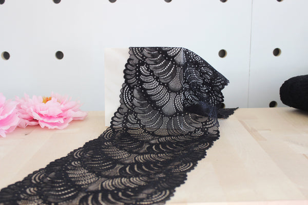 "1 YD of 8"" Black Plumage Stretch Lace for Bramaking Lingerie"
