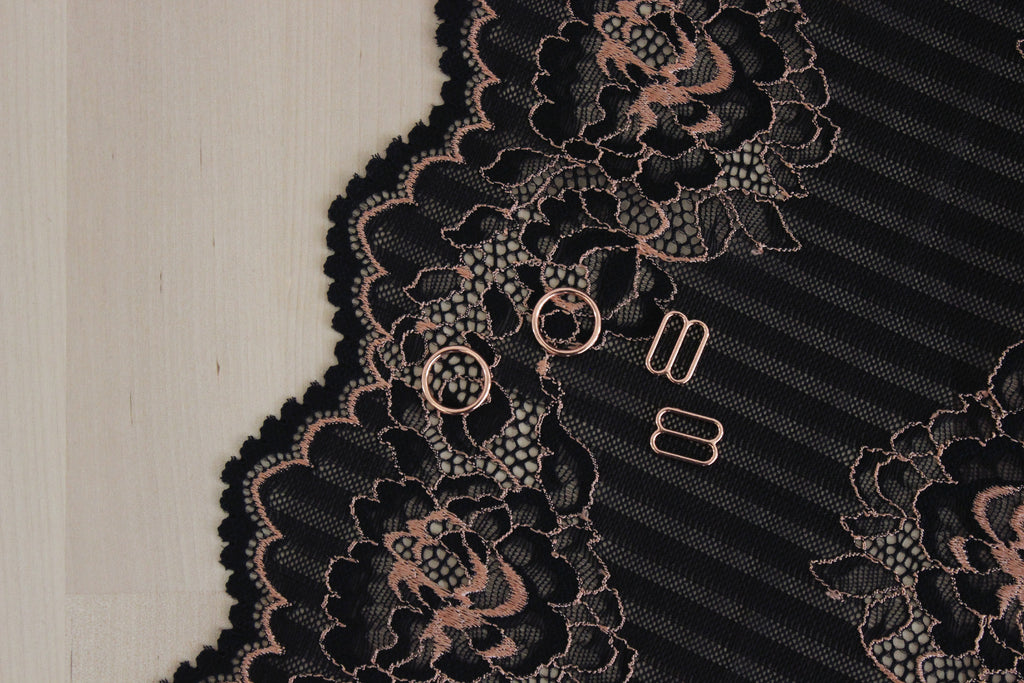 "1 YD of 8"" Black Rose Gold Florals & Stripes Stretch Lace for Bramaking Lingerie"