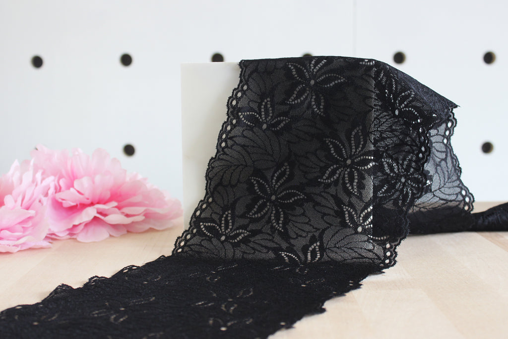 "1 YD of 6.25"" Black Floral & Leaves Stretch Lace for Bramaking Lingerie"