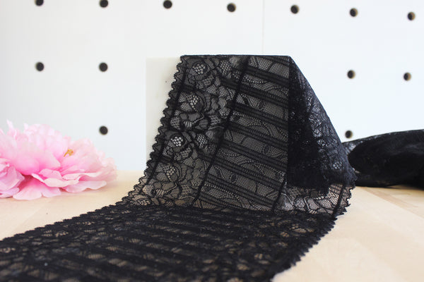 "1 YD of 8"" Black Floral & Stripes Stretch Lace for Bramaking Lingerie"