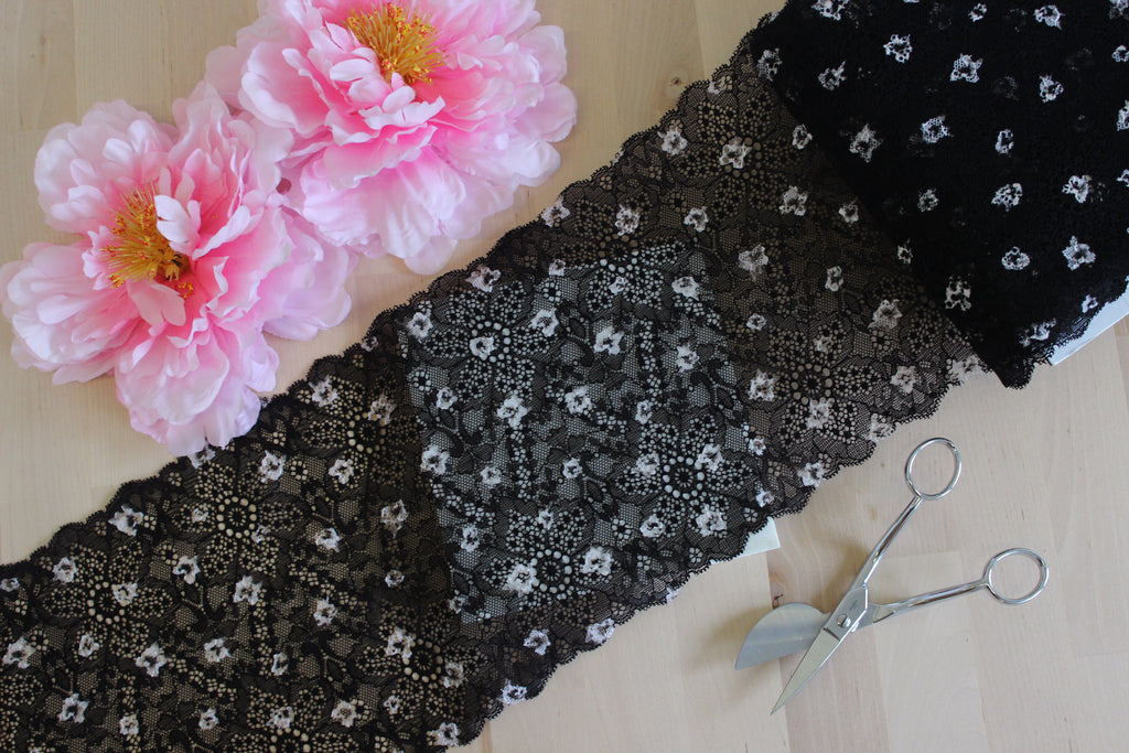 "1 YD of 7.25"" Black & White Floral Stretch Lace for Bramaking Lingerie"