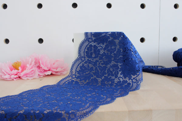 "1 YD of 8.5"" Blue Royal Floral Stretch Lace for Bramaking Lingerie"
