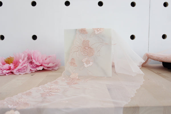 "9"" Blush/Rose Gold Floral Embroidered Tulle Edge Lace Non-Stretch (Left and Right Lace Available)"