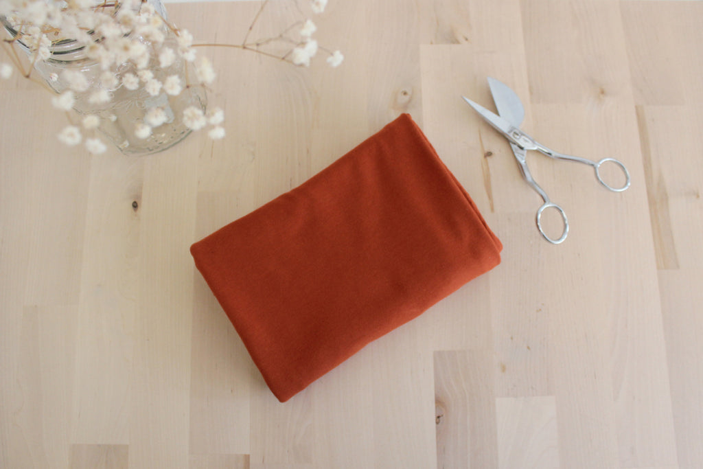 1/2 YD Brick Organic Cotton Jersey Spandex - Perfect for sewing underwear