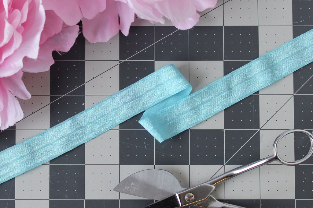 "1 YD of 3/4"" Bright Blue Fold Over Elastic Shiny Foldover Elastic FOE Underwear Making Lingerie Bra Making"
