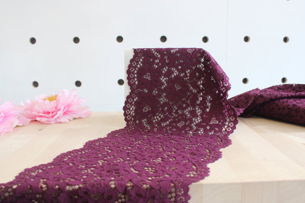 "1 YD of 8.5"" Burgundy Floral Stretch Lace for Bramaking Lingerie"