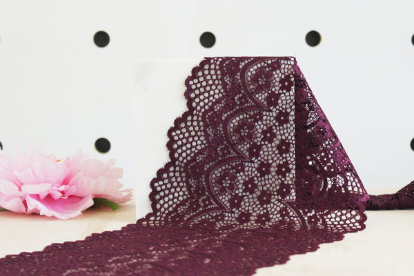 "1 YD of 8"" Burgundy Crochet Floral Stretch Lace for Bramaking Lingerie"