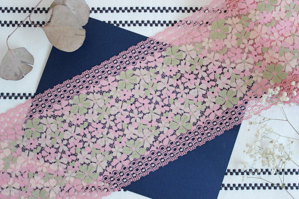 "1 YD of 7"" Candy Pink Mullti Floral Stretch Lace for Bramaking Lingerie"