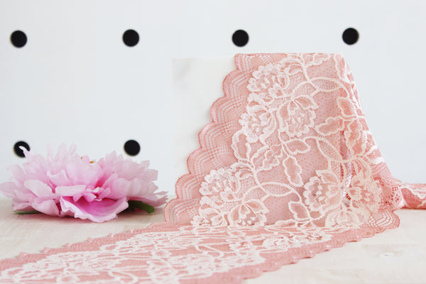 "1 YD of 7.25"" Coral/Powder Pink Floral Stretch Lace for Bramaking Lingerie"