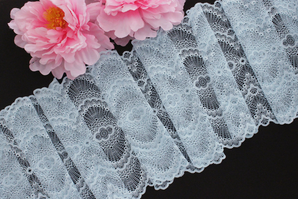 "1 YD Pale Blue Scallop 9.25"" Stretch Lace for Bramaking Lingerie"