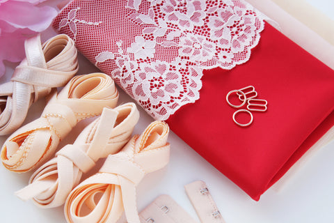 DIY Underwire Bra Kit Red Duoplex + Cream Peach Lace