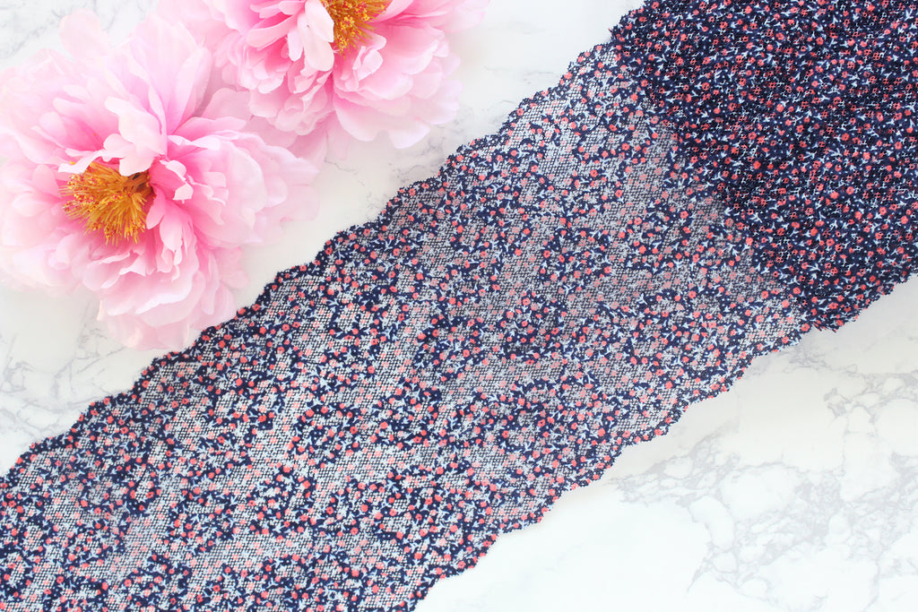 "1 YD of 6.75"" Dark Navy Red Orange Blue Multi Floral Stretch Lace for Bramaking Lingerie"