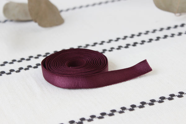 "1 YD 1/2"" Dark Cherry Satin Plush Back Bramaking Lingerie Elastic"