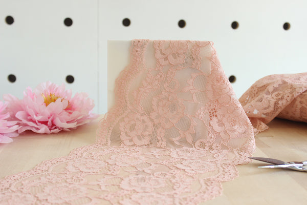 "1 YD of 8.75"" Dusty Coral Floral Stretch Lace for Bramaking Lingerie Underwear Sewing DIY"