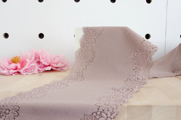 "1 YD of 9"" Dusty Mauve Rib Stretch Lace for Bramaking Lingerie"