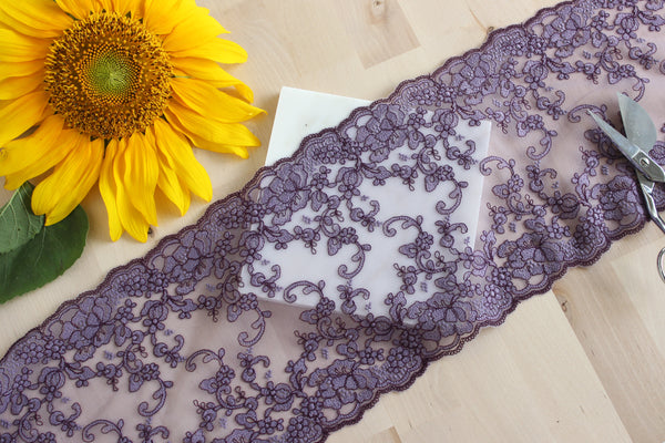 "1 YD of 7"" Dusty Purple Floral Embroidered Tulle Lace Non-Stretch"