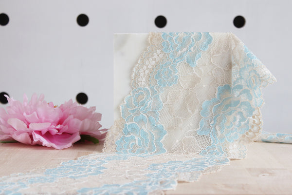 "1 YD of 7"" Ecru/Light Blue Floral Stretch Lace for Bramaking Lingerie"