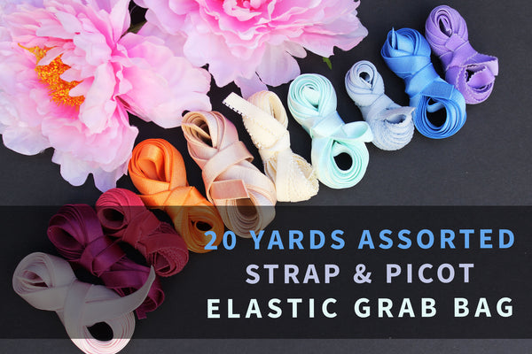 20 YDS Assorted Strap & Picot Elastic Grab Bag
