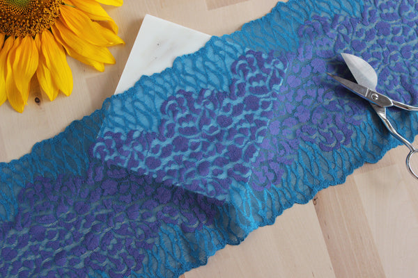 "1 YD of 7.25"" Electric Blue Teal/Purple Stretch Lace for Bramaking Lingerie"