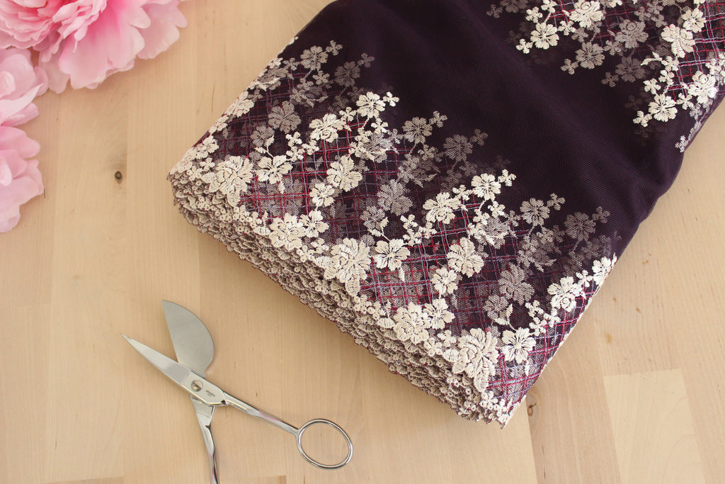 "1 YD of 12"" English Violet Multi Floral Embroidered Tulle Lace Non-Stretch"