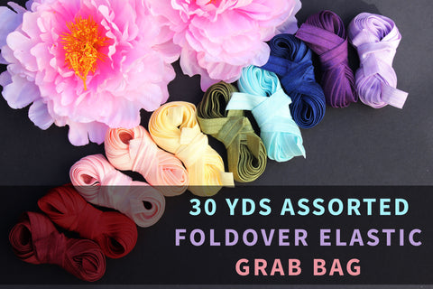 30 YDS Assorted Foldover Elastic Grab Bag