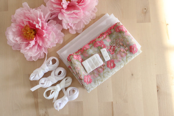 DIY Underwire Bra Kit French Rose Multi Embroidered Tulle White