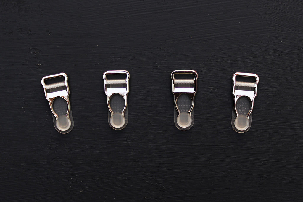 1 Set (4 Pcs) Silver Metal Garter Clips Lingerie Making