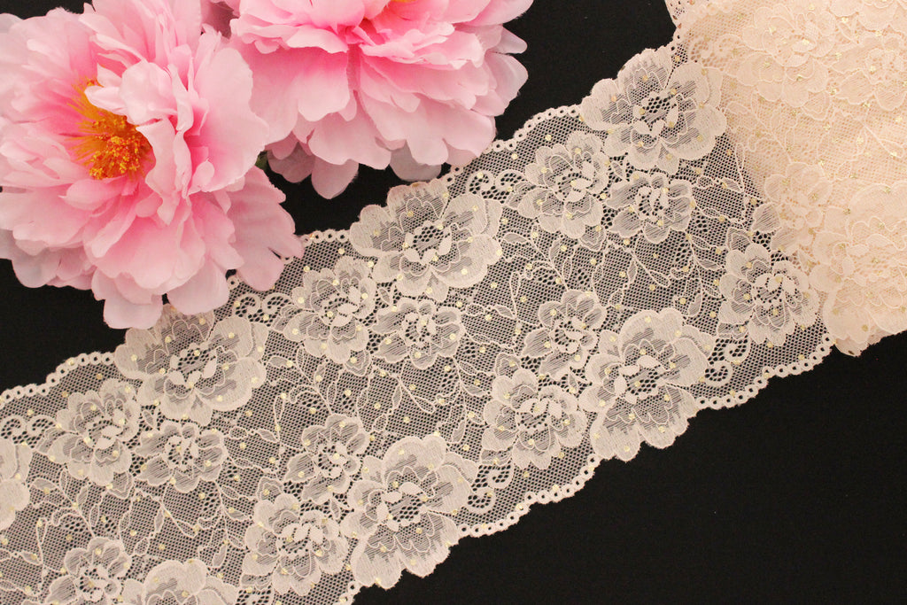 "1 YD Pale Peach Gold Metallic Polka Dots 6.5"" Stretch Lace for Bramaking"