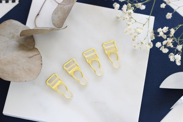 1 Set (4 Pcs) Gold Metal Clear Rubber Garter Clips Lingerie Making
