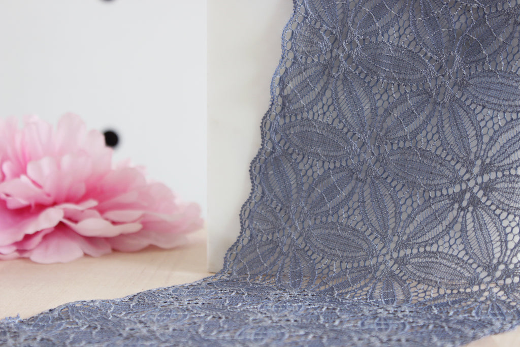 "1 YD of 6.25"" Grey Blue Floral Stretch Lace for Bramaking Lingerie"